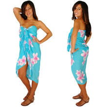 Plumeria Sarong in Light Turquoise / Pink