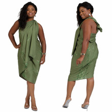 PLUS Sized Sarong Bamboo Olive Green FRINGELESS