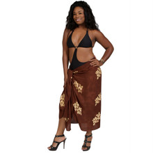 Hibiscus Plus Size Sarong Chocolate Brown