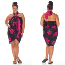 Hibiscus PLUS SIZE Sarong in Black W/ Pink