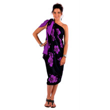 Hibiscus PLUS SIZE Sarong in Purple On Black