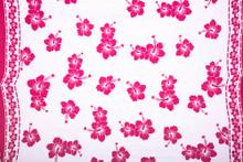 Polynesian Floral PLUS SIZE Sarong in White/Fuchsia