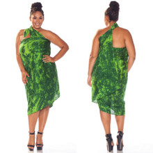 "Smoked Plus Size Sarong ""Lime / Dark Green"""
