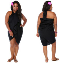 "Plus Size Solid Sarong ""Black"""