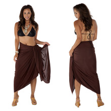 Plus Size Solid Colored Sarong in Brown