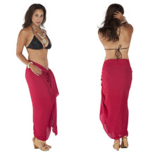 Plus Size Solid Colored Sarong in Burgundy