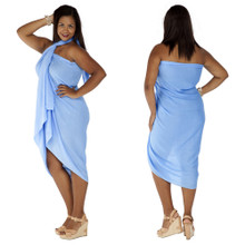 Plus Size Solid Colored Sarong in Light Blue