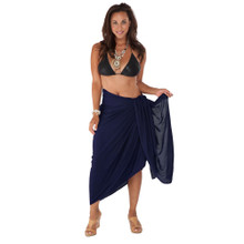 "Plus Size Solid Sarong ""Navy Blue"""