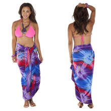 Tie Dye Plus Size Sarong in Chakra Pink-Red-Purple-Blue FRINGELESS