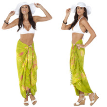 Seashell Sarong in Green w/ Multicolor