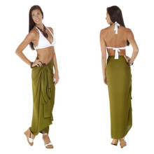 Solid Light Olive Green Sarong FRINGELESS