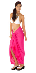 Solid Hot Pink Sarong FRINGELESS