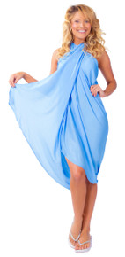 Solid Light Blue FRINGELESS Sarong