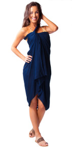 Solid Navy Blue FRINGELESS Sarong
