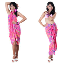 High-End Pertama Sarong in Pink w/ Abstract Heart Design