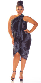 Top Quality Smoked Sarong in Charcoal Gray FRINGELESS