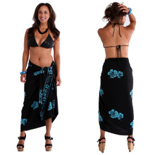 "Hibiscus Plus Size High-End Pertama Sarong ""Black / Turquoise"""
