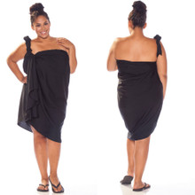 "Plus Size Solid High-End Pertama Sarong ""Black"""