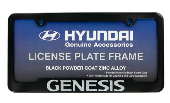 Hyundai Genesis Black Coated License Plate Frame (F019)