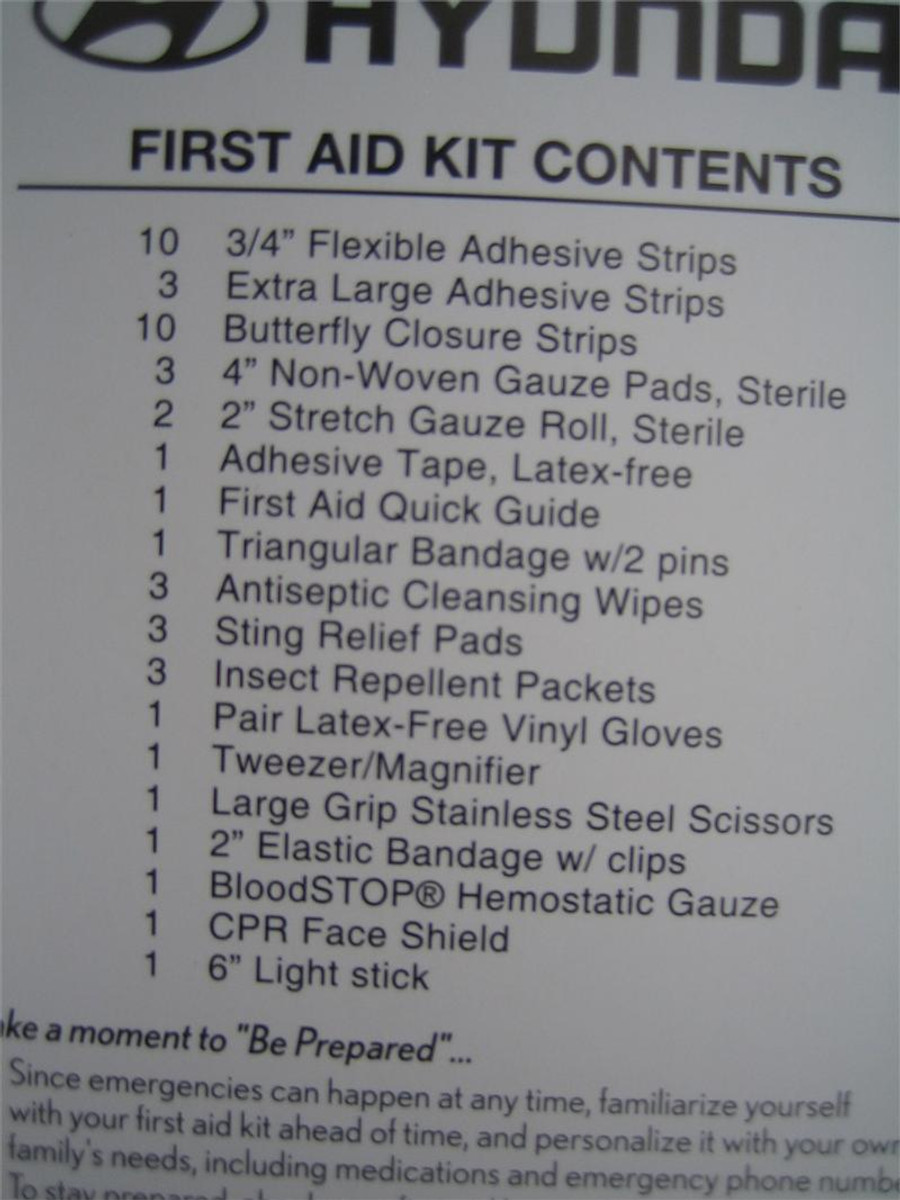 Hyundai First Aid Kit Contents