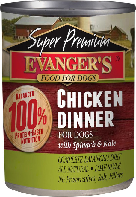 Evanger's Super Premium Chicken Dinner with Spinach and Kale 13 Ounce