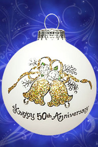 50th Anniversary hand painted glass ornament