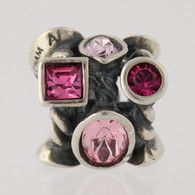 NEW Chamilia Bead Charm - Sterling Silver JC-2A Marquise Pink Swarovski Crystal