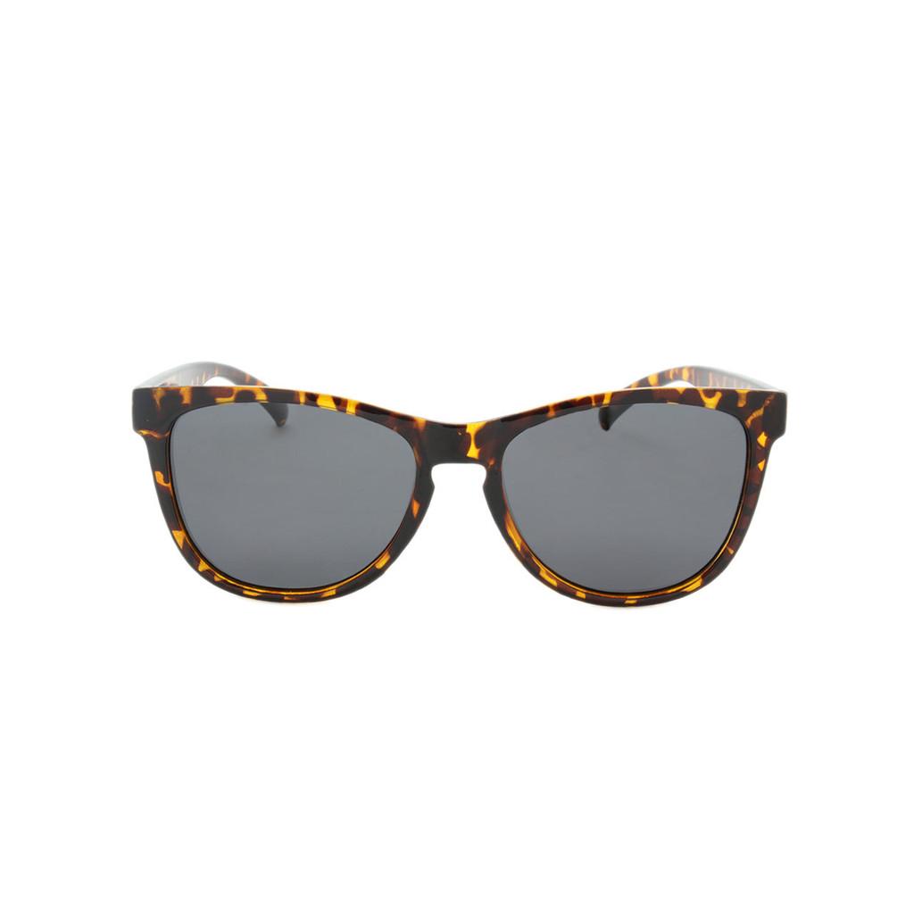 Hangten Kids Sunglasses Smoke Polarized Lens Polished Tortoise Frame Tortoise Temple Raised Gold Logo Shark Eyes HTK09BPOL A-F