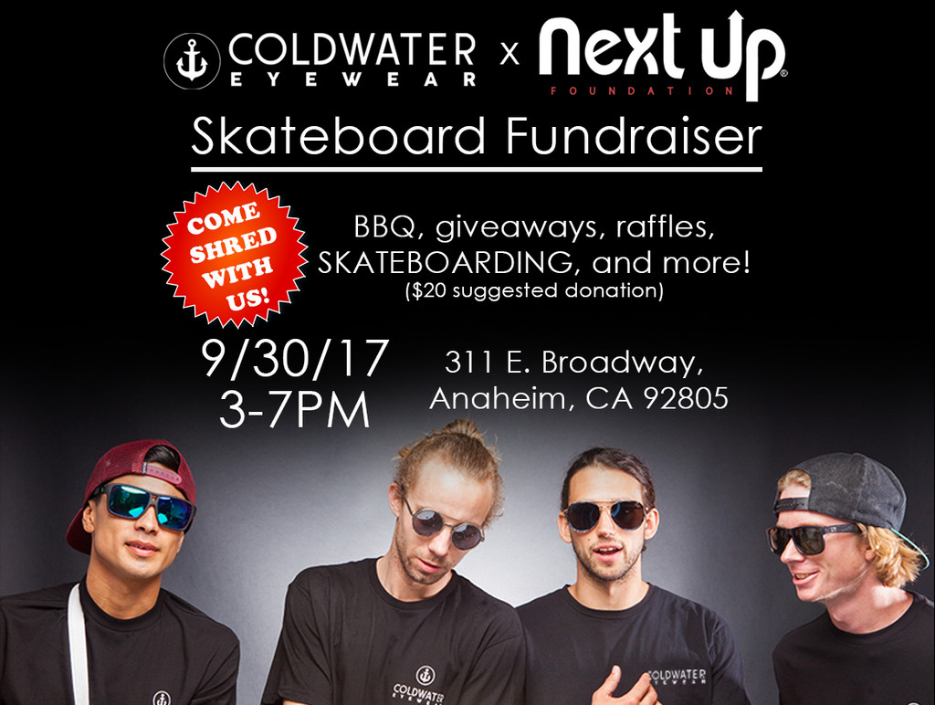 Cold Water Eyewear & Next Up Foundation Skateboarding Fundraiser