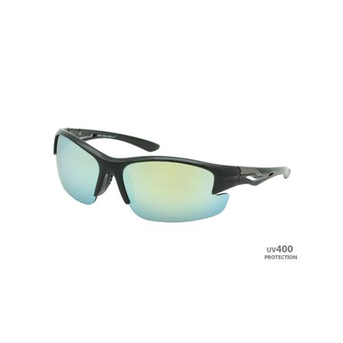 Sport Sunglasses Polished Black Frame Yellow Revo Lens Gunmetal Temple Shark Eyes RXS04