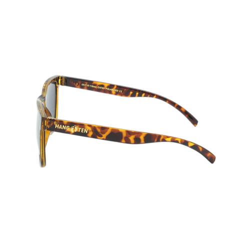 Hangten Kids Sunglasses Smoke Polarized Lens Polished Tortoise Frame Tortoise Temple Raised Gold Logo Shark Eyes HTK09BPOL A-S