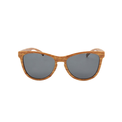Hangten Kids Sunglasses Wayfer Smoke Polarized Lens Wood Look Frame Wood Look Temple Shark Eyes HTK09CPOL A-F