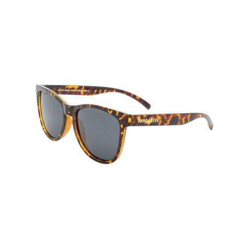 Hangten Kids Sunglasses Smoke Polarized Lens Polished Tortoise Frame Tortoise Temple Raised Gold Logo Shark Eyes HTK09BPOLWC A