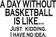 A Day without Basketball is like.  Just kidding I have no idea.