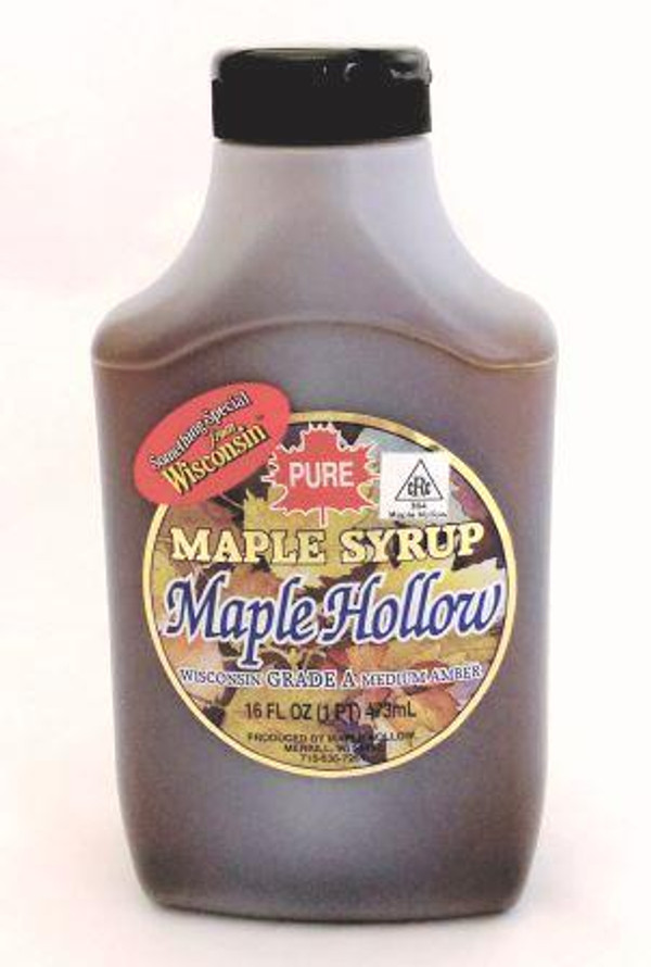 16oz (Pint) Plastic Squeeze Bottle 0f Pure Maple Syrup Amber Rich / Medium Amber - Kosher