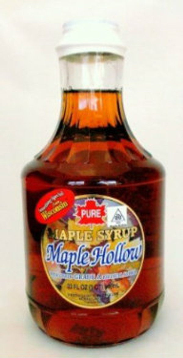 32oz (Quart) Pure Maple Syrup Amber Rich / Medium Amber - Kosher - Glass Decanter