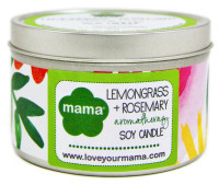 100% natural & hand-poured Lemongrass + Rosemary Soy Candle in 6 oz. tin