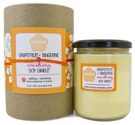 Grapefruit + Tangerine (Fresh) 12 oz. Glass Soy Candle   Mama Bath + Body