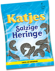 Katjes Salzige Heringe, Salty Fish Licorice Bag of  500 Grams / 17.6 Oz
