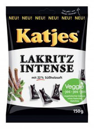 Katjes Lakritz Intense / Intense Licorice 150g - 5.29oz Cat-shaped Drops