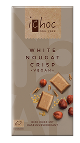 ichoc VEGAN Chocolate Bar  White Nougat Crisp 80g - 2.82 Oz