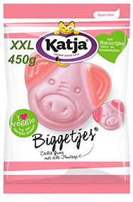 Katja / Katjes | Piglets - Biggetjes | Fruity Foam Vegetarian Candy |  XXL Bag 450g - 15.8oz