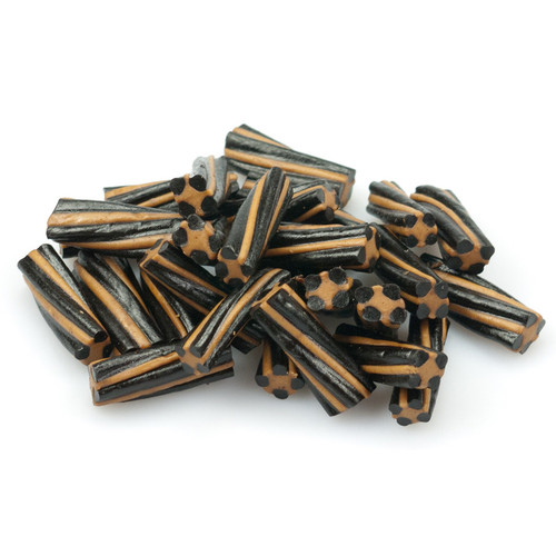 A delicious combination of sweet black soft licorice with some caramel stripes.