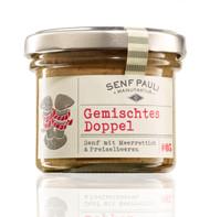 SenfPauli handmade manufacture mustard #05: Gemischtes Doppel - mixed double: lingonberry& horseradish Mustard 121g - 4.7oz Glas Jar