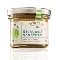 SenfPauli handmade manufacture mustard #04: Nicht weit vom Stamm - not far from the trunk  - Northern German apple Mustard 121g - 4.7oz Glas Jar
