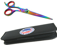 Lefty Professional Hair Cutting Shears Rainbow Titanium