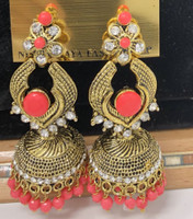 E1 RED hand crafted Black Indian  Earrings set Jhumka Jabells Indian beaded Jewelry