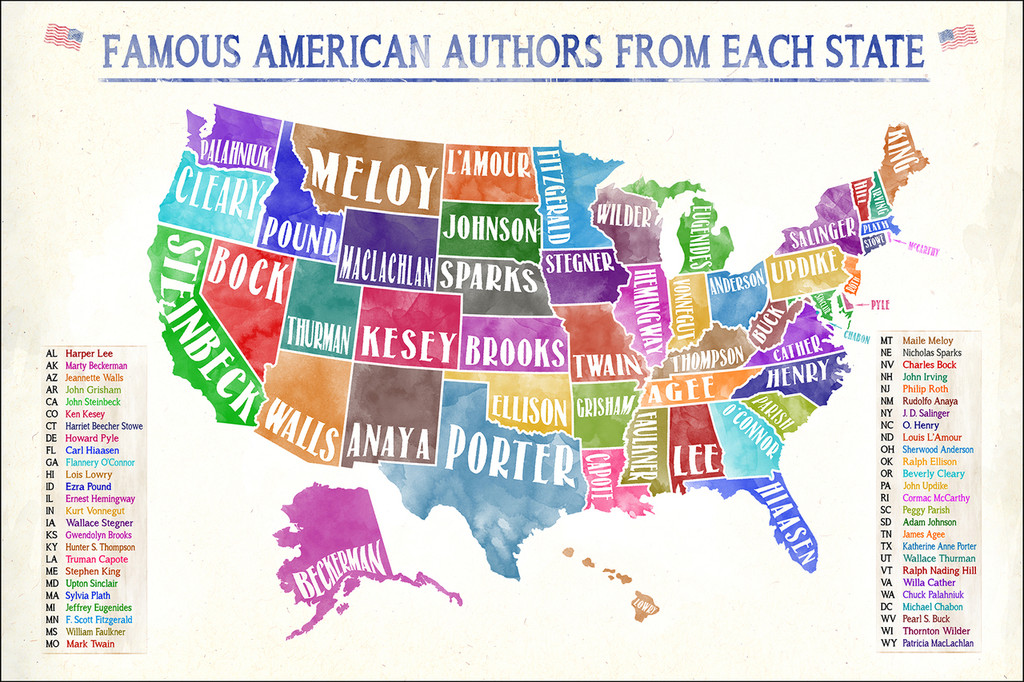 Most Famous American Authors by State Extra Large Watercolor Style Art Print