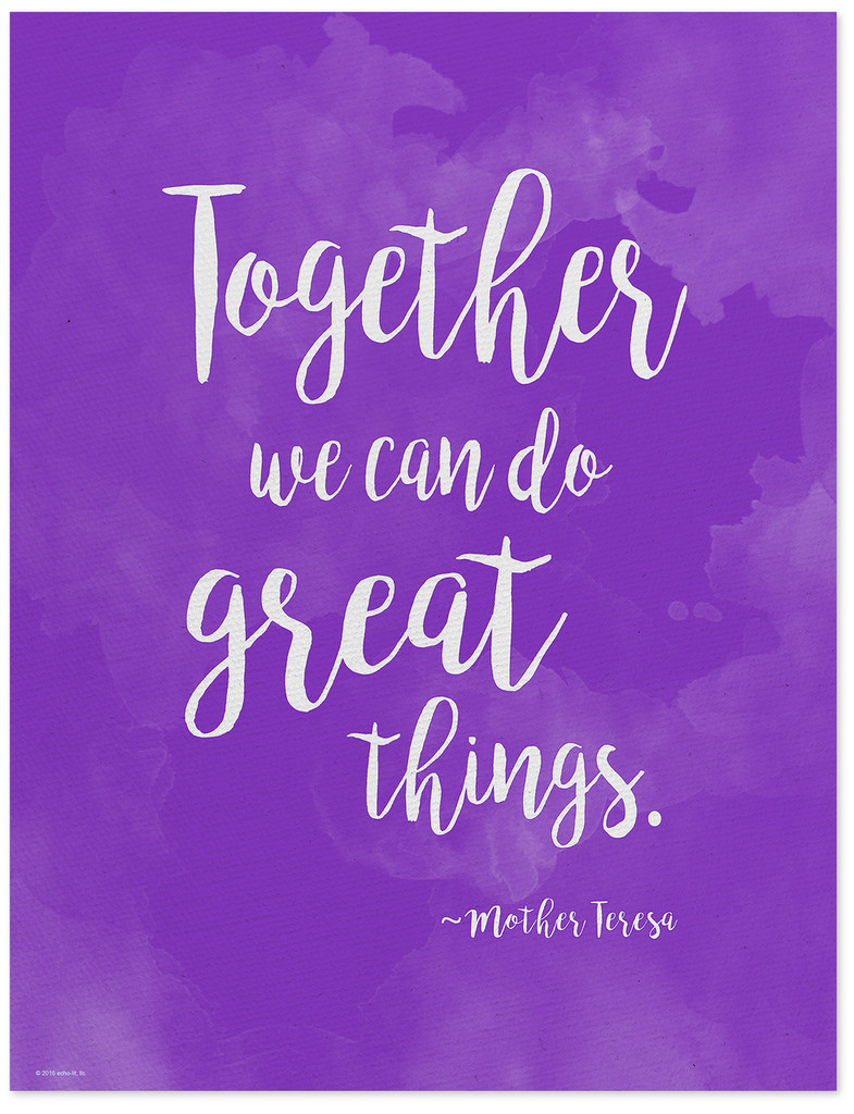 Great Things - Mother Teresa Diversity Quote Poster. Fine Art Print For Classroom, Library, Home or Dorm