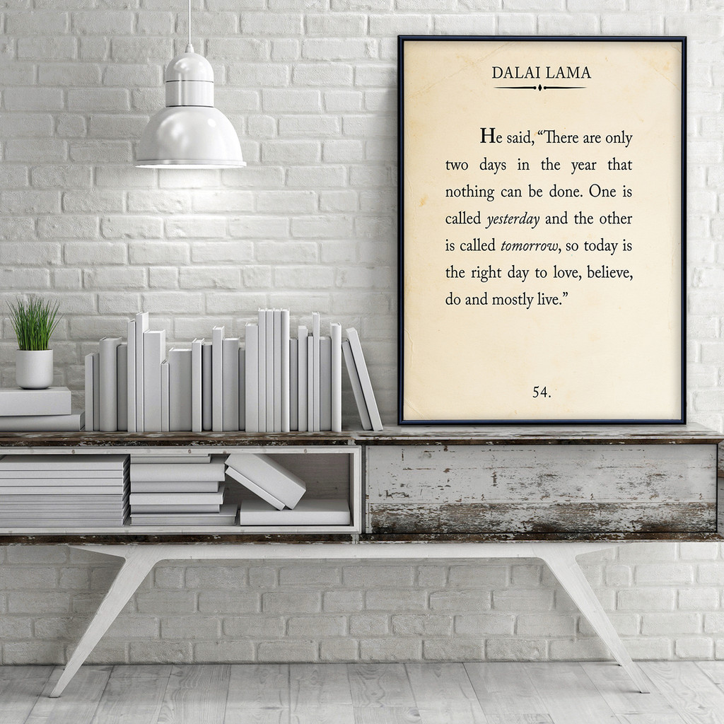 Dalai Lama Quote Fine Art Print Book Page Style Print for Home, School or Office